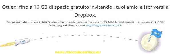 arriva a 16 gb dropbox gratis