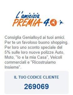 amicizia premia Genialloyd codice amico 269069